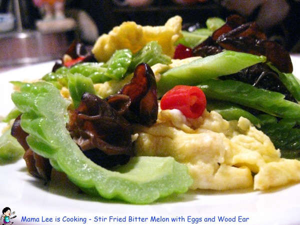 Stir Fried Bitter Melon with Eggs and Wood Ear