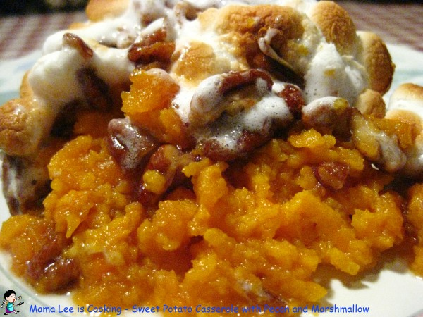 Sweet Potato Casserole with Pecan and Marshmallow