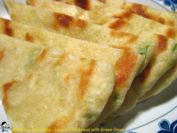 Layered Flat Bread with Green Onion