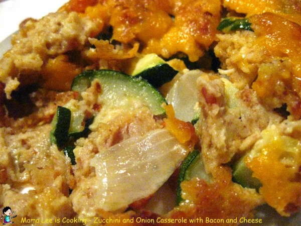 Zucchini and Onion Casserole with Bacon and Cheese