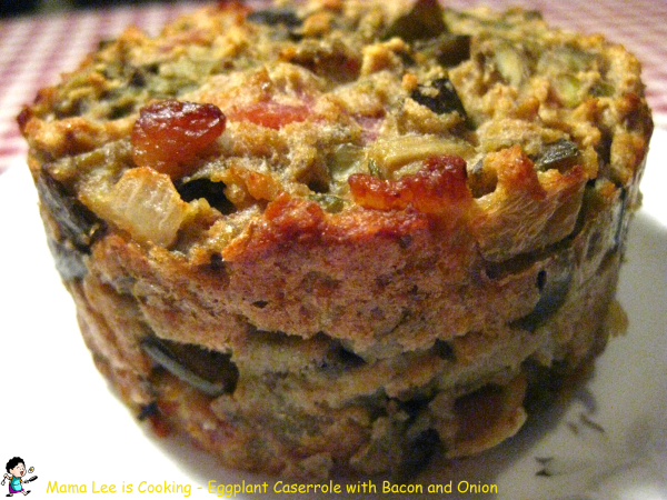 Eggplant Casserole with Bacon and Onion